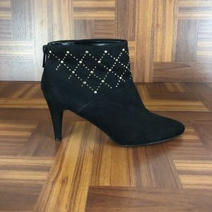 IMPO SCAPE Black Gold Studded Heeled Ankle Boots